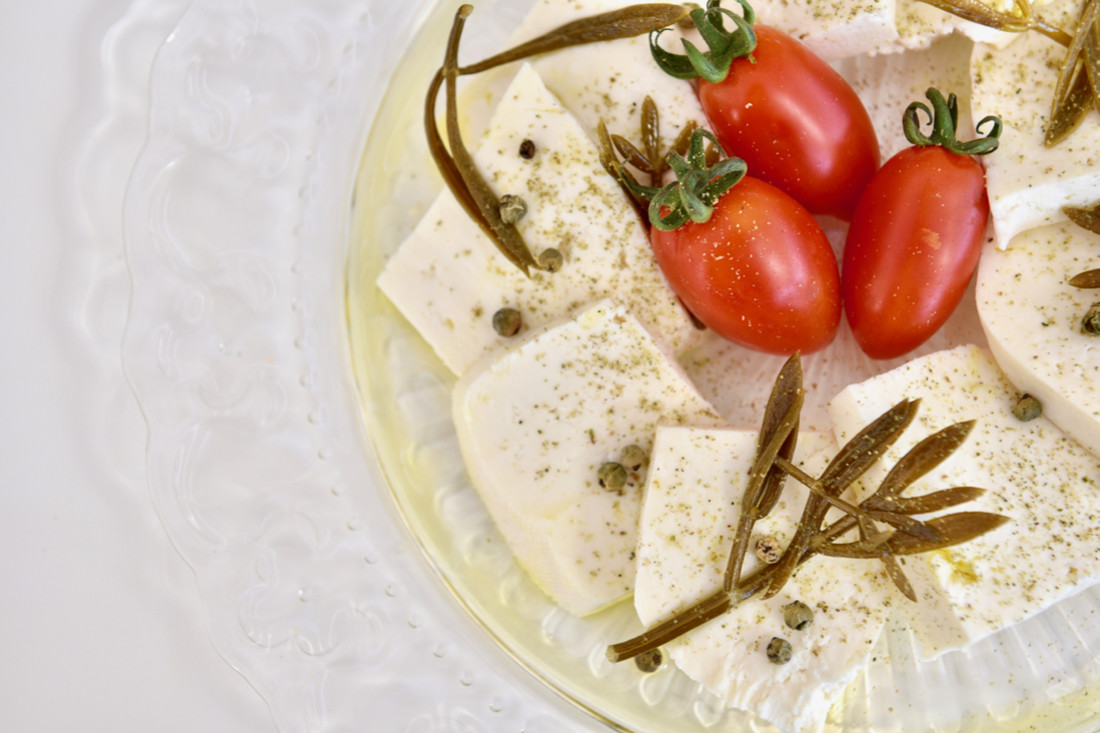 Salty feta cheese